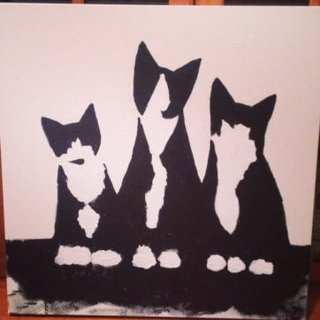 Tuxedo cat painting in progress