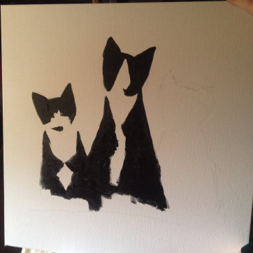 Tuxedo cat painting in progress