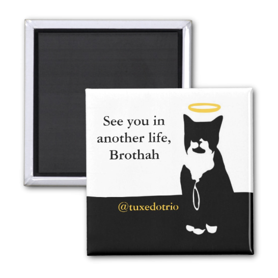 """Magnet depicting tuxedo cat with a halo. Text reads """"See you in another life, Brothah. @tuxedotrio"""""""