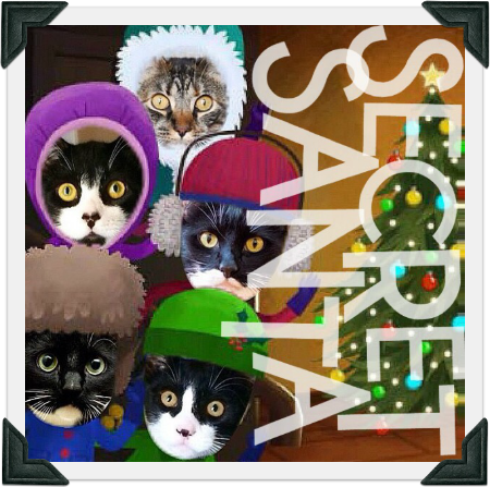"Cartoon image of 5 cats wearing winter outfits next to a Christmas tree. Text reads ""SECRET SANTA"""