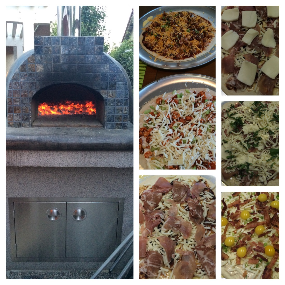 Collage of photos shows brick oven along with variety of pizzas