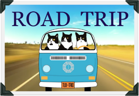 "Cartoon image of TuxedoTrio in blue Volkswagon bus. Text reads ""ROAD TRIP."""