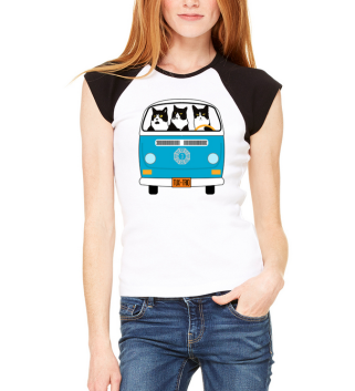 Image of woman wearing TuxedTrio raglan tee shirt