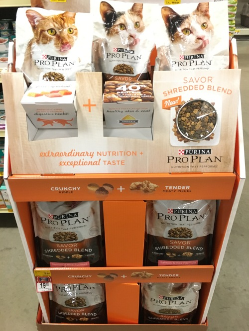 Store display shows Purina Pro Plan Savor Shredded Blend cat food
