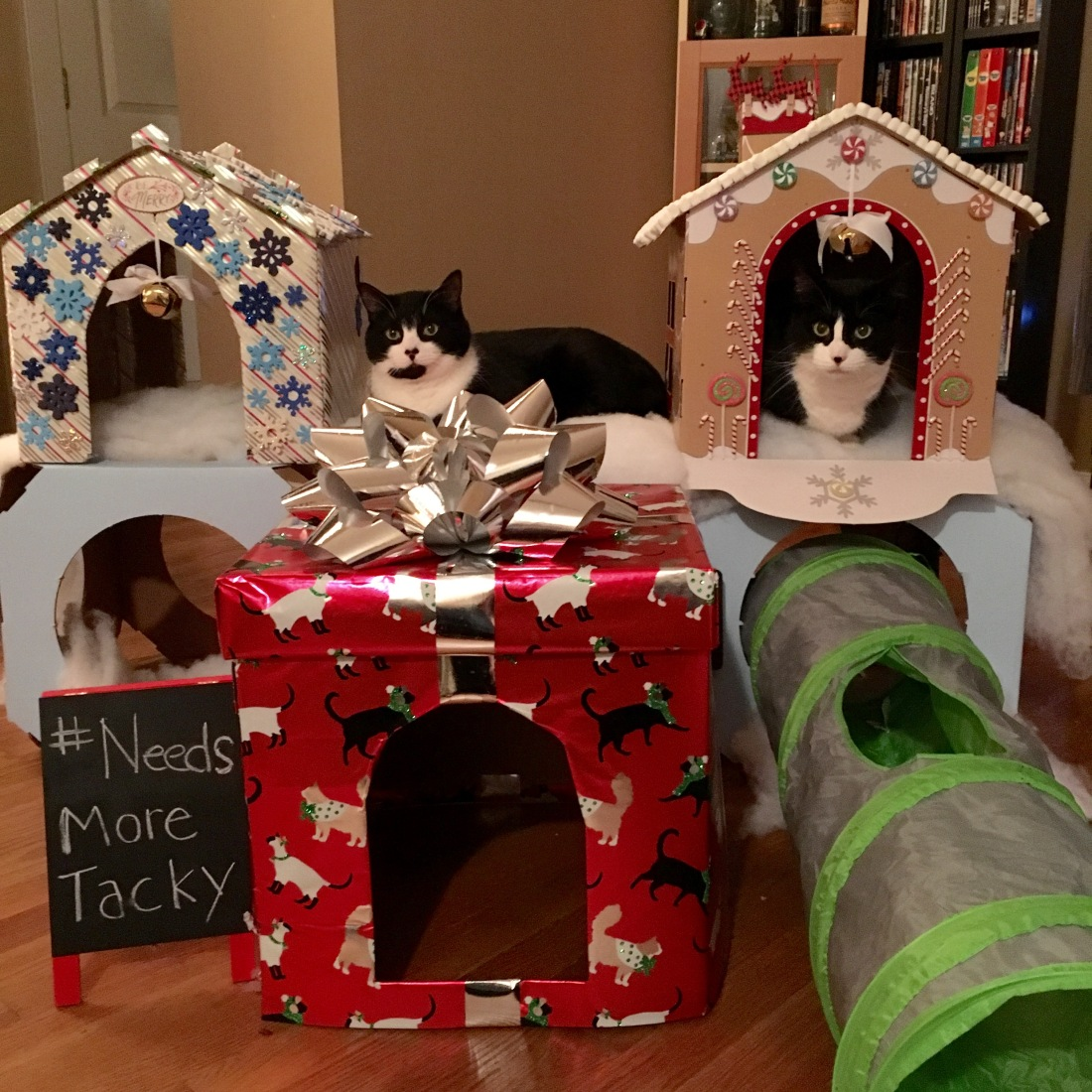 "Cats pose with 3 fully decorated cat houses. Sign reads ""#needs more tacky"""