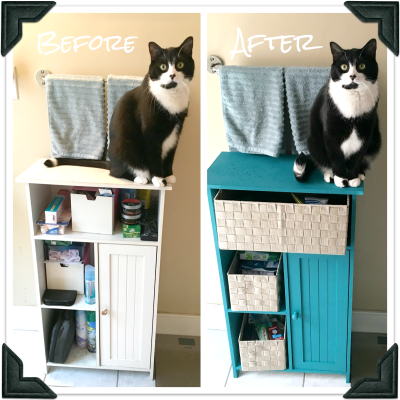 Before and after photo of bathroom cabinet with tuxedo cat on top