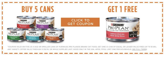 Coupon for Purina Pro Plan cat food
