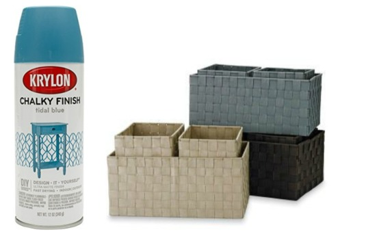 Krylon chaulky finish tidal blue spray paint and several baskets
