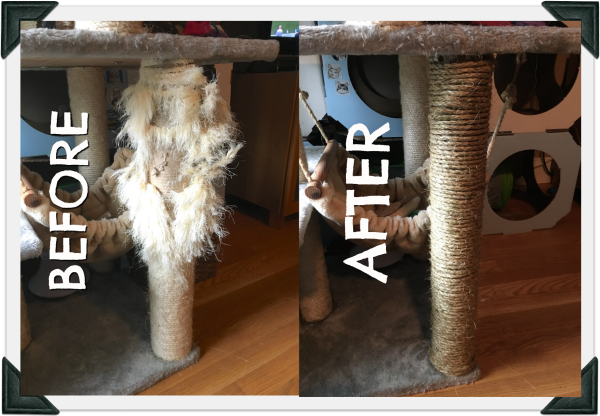 Photo shows cat tree leg before and after repair