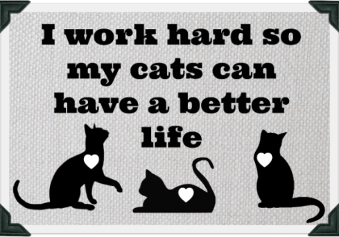 "Image of three cats. Text reads ""I work hard so my cats can have a better life"""